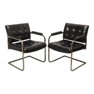 Milo Baughman Style Chrome Lounge Chairs by Patrician Furniture, USA, 1960s
