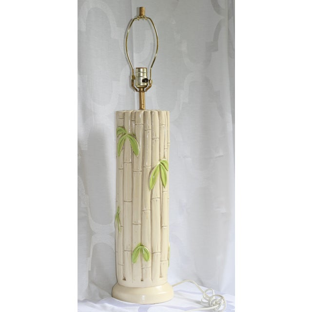 Bamboo Oval Table Lamp: 1960's Vintage Plasterware Bamboo Table Lamp