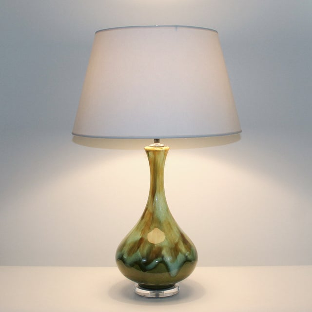 Mid-Century Restored Green Pottery Lamps - Pair - Image 9 of 9
