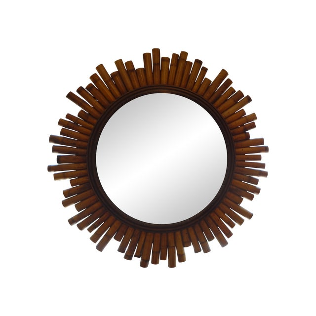 French Split Bamboo Sunburst Mirror - Image 1 of 5