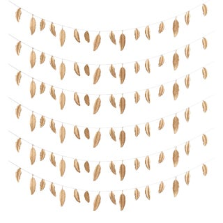 Decorative Gold Feather Garlands - Set of 6