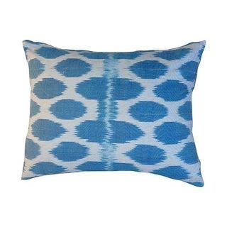 Vintage Turquoise Polka Dot Silk Ikat Pillow