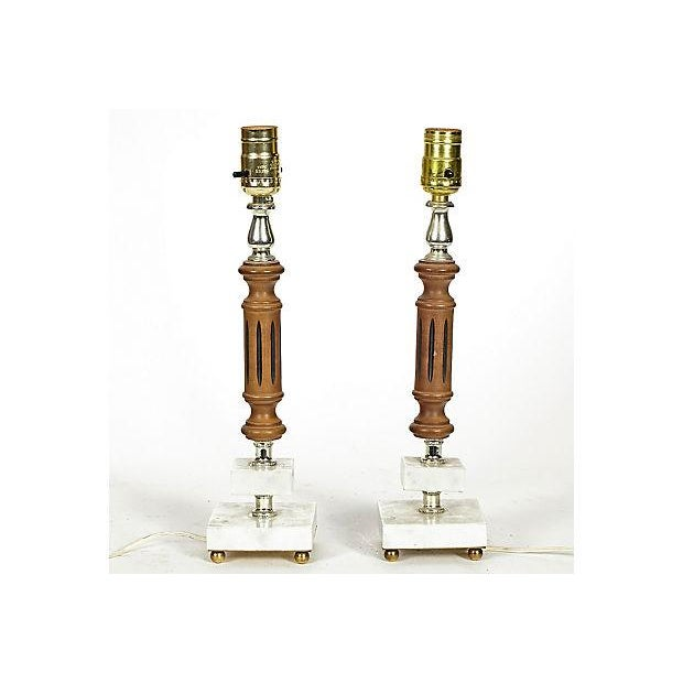 Image of 1960s Marble & Walnut Table Lamps - A Pair