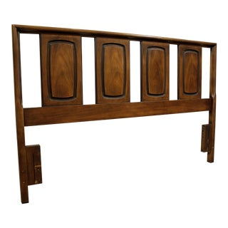 Mid-Century Danish Modern Kent Coffey Perspecta Walnut Queen Size Headboard