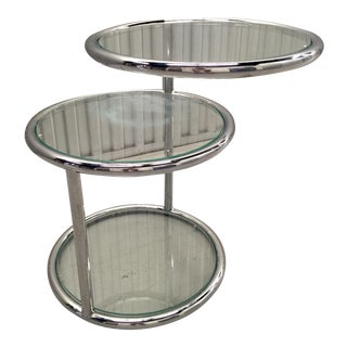 Milo Baughman Style Chrome & Glass Side Table