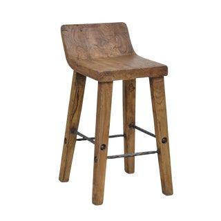 Teak Wood & Iron Bar Stool