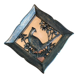 Carved Wood & Copper Pheasant Wall Hanging