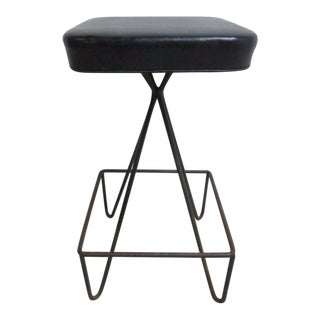 Vintage Mid-Century Wrought Iron Weinberg Bar Stool