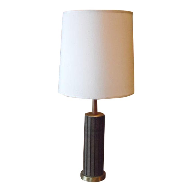 mid century wood and brass table lamp chairish. Black Bedroom Furniture Sets. Home Design Ideas