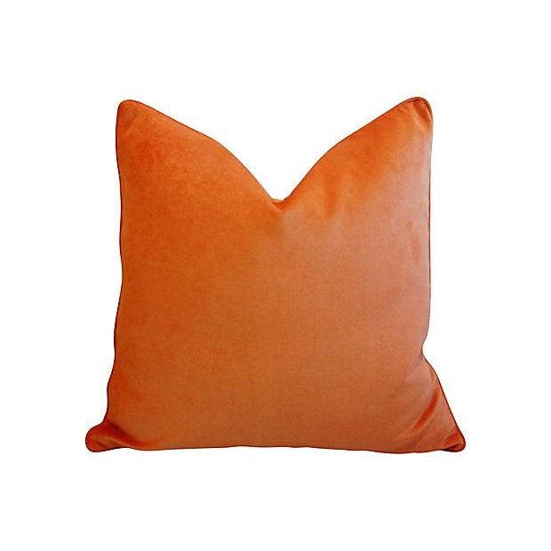 Tangerine Orange Velvet & Tropical Parrot & Pomegranate Feather/Down Pillows - Set of 4 - Image 2 of 6