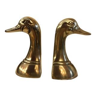 Mid-Century Modern Brass Duck Bookends - A Pair