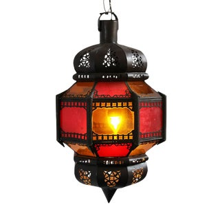 Moroccan Style Red & Amber Lantern