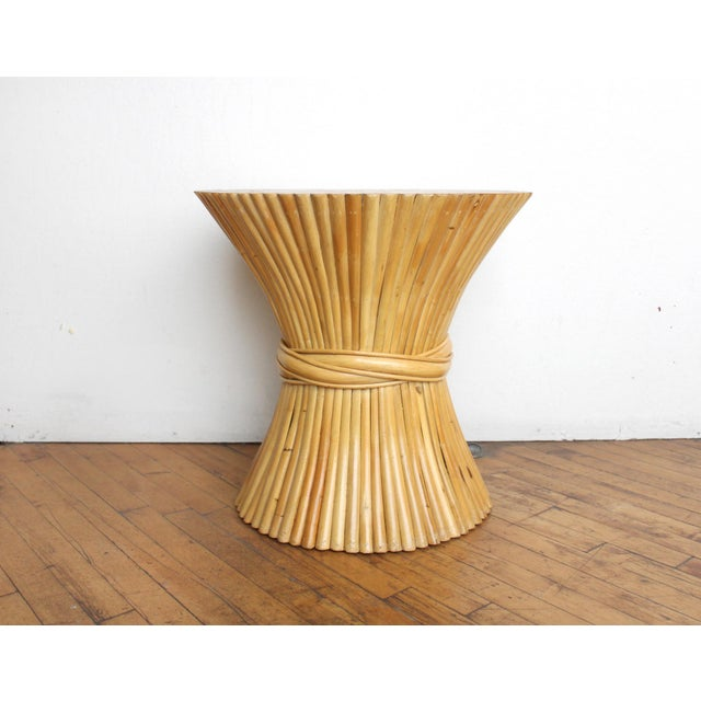 McGuire Wheat Sheaf Side Table- Rattan and Bamboo End Table - Image 5 of 6