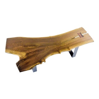 Large Live Edge Coffee Table with Inlay
