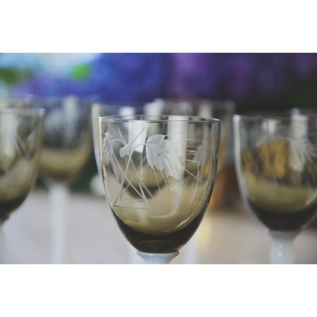 Vintage Smoke Grey Goblets - Set of 9 - Image 6 of 9