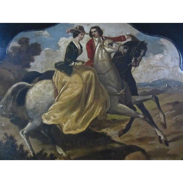 Antique Tole Painted Tray Equestrian Scene - Image 4 of 6