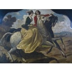 Image of Antique Tole Painted Tray Equestrian Scene