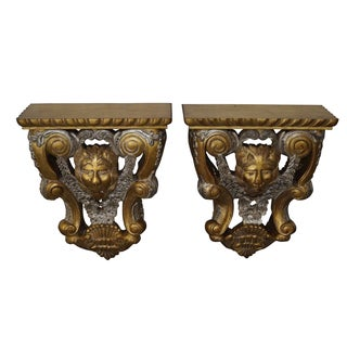 Maitland Smith Lion Gilt Wall Shelves - Pair