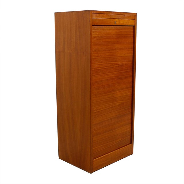 Tall Teak Locking Tambour Door Jewelry Cabinet - Image 2 of 9