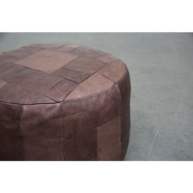 Brown Leather De Sede Style Patchwork Ottoman - Image 5 of 7