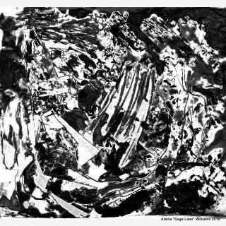 Suga Lane - Black & Gray Arctic Ice Ltd Edition Modern Print