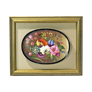 Antique Hand-Painted Floral Porcelain Cartouche
