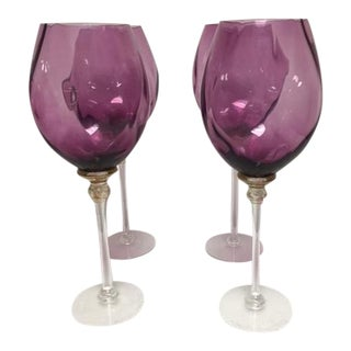 Purple Art Glass Stemware - set of 4