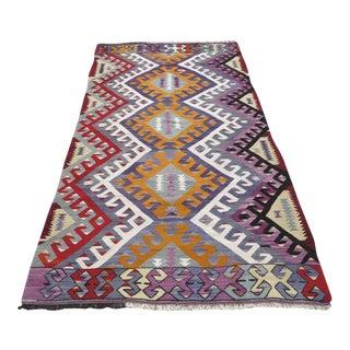 """Vintage Turkish Kilim Area Rug - 4'1"""" x 7'7"""""""