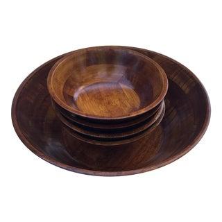 Natural Wood 5-Piece Salad Bowl Set