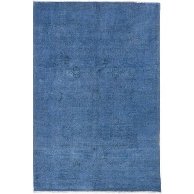 """Blue Vintage Turkish Overdyed Rug - 6'1"""" X 9' - Image 1 of 2"""