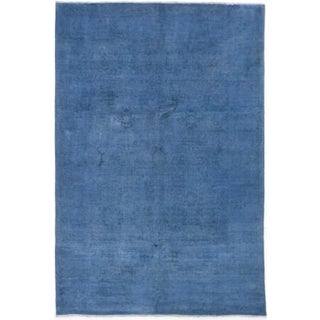 "Blue Vintage Turkish Overdyed Rug - 6'1"" X 9'"