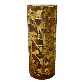 Teal & Gold Signed Vase
