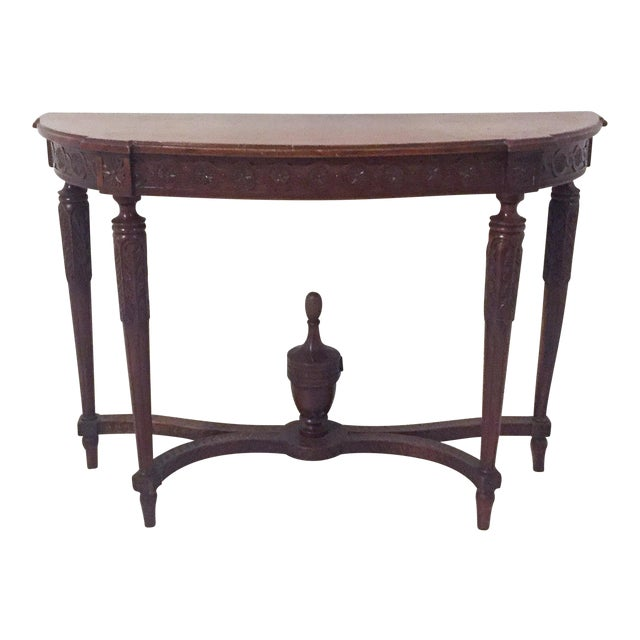 Antique Mahogany Demi-lune Table - Image 1 of 9