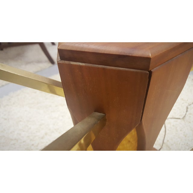 Mid-Century Brass & Glass Lighted Side Tables - Image 9 of 10