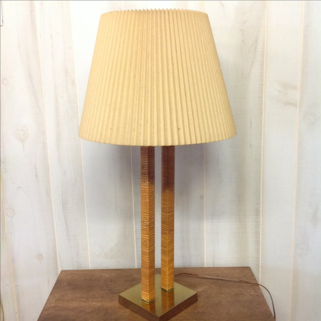 Hollywood Regency Rattan Wrapped Brass Table Lamp - Image 6 of 7