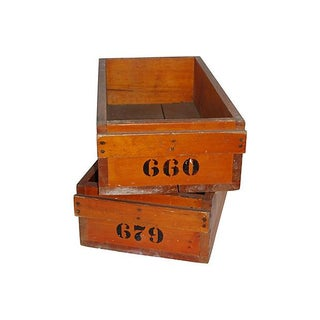 Industrial Warehouse Wooden Drawers - Pair
