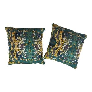 Velvet Beaded Throw Pillows - A Pair