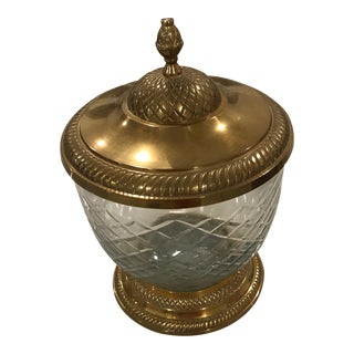 Brass & Cut Glass Lidded Jar
