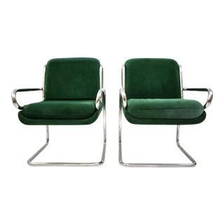 Dunbar Reversed Cantilever Tubular Chrome Chairs - A Pair