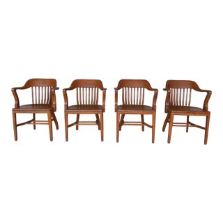 Dubin Co. Mission Arts & Crafts Style Oak Chairs - Set of 4