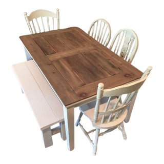 Farmhouse Dining Table, Chairs & Bench