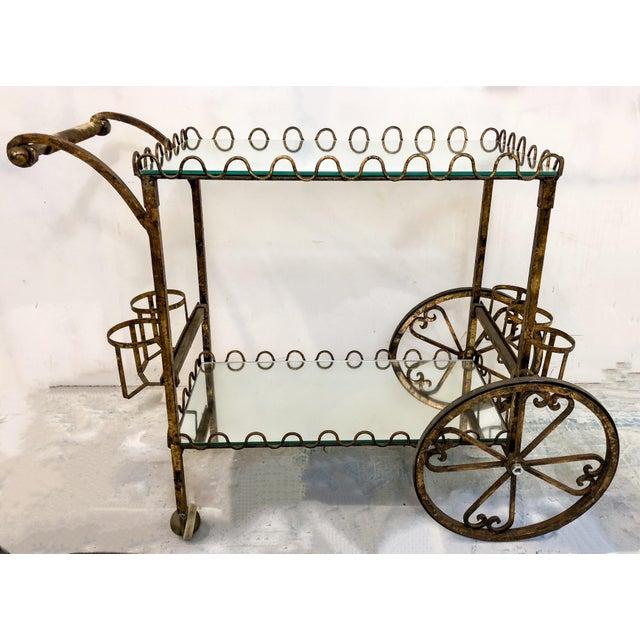 Hollywood Regency Italian Gilt Metal Bar Cart - Image 5 of 6