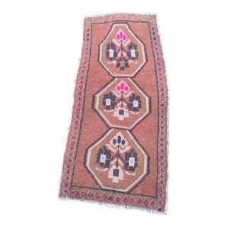 """Turkish Brown Wool Pile Small Vintage Rug - 1'3"""" x 3'1"""""""