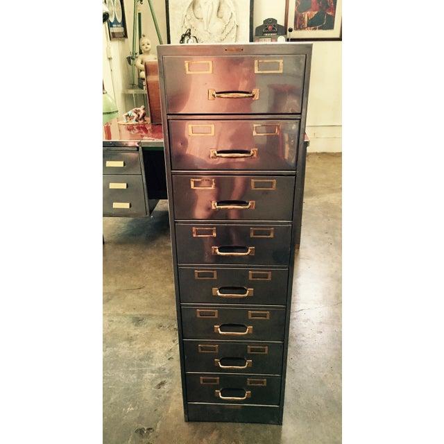 Vintage Polished Modern Metal Steelcase 8-Drawer File Cabinet - Image 2 of 8