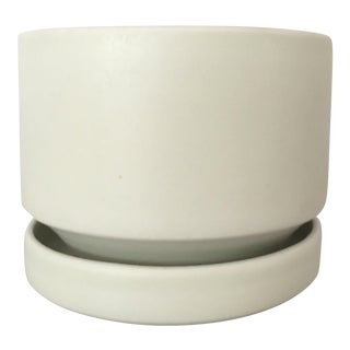 Arabia Finland Vintage White Flower Pot & Saucer