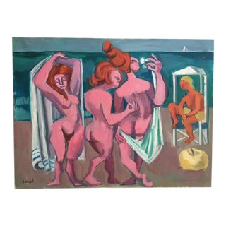 "George Conrand ""The Bathers"" Oil on Canvas"