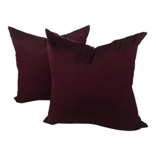 Deep Rich Burgundy Velvet Pillows - A Pair