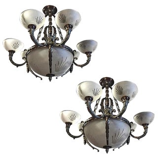 Nine-Light Crystal and Bronze Domed Chandelier Depicting Gargoyle - A Pair