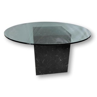 Contemporary Black Marble Table with Glass Top