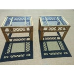 Image of Vintage Glass Top Faux Bamboo Side Tables - A Pair
